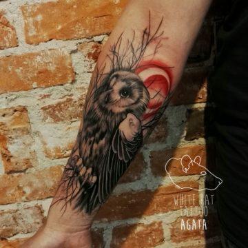 Studio tatuażu Warszawa Agata Kacperczyk tatuaż Sowa 2