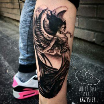 Studio tatuażu Warszawa Krzysztof Jakubowski tatuaż anioł