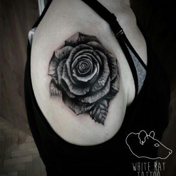 Studio tatuażu Warszawa Krzysztof Jakubowski tatuaż róża