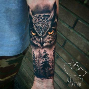 Studio tatuażu Warszawa Krzysztof Jakubowski tatuaż sowa las