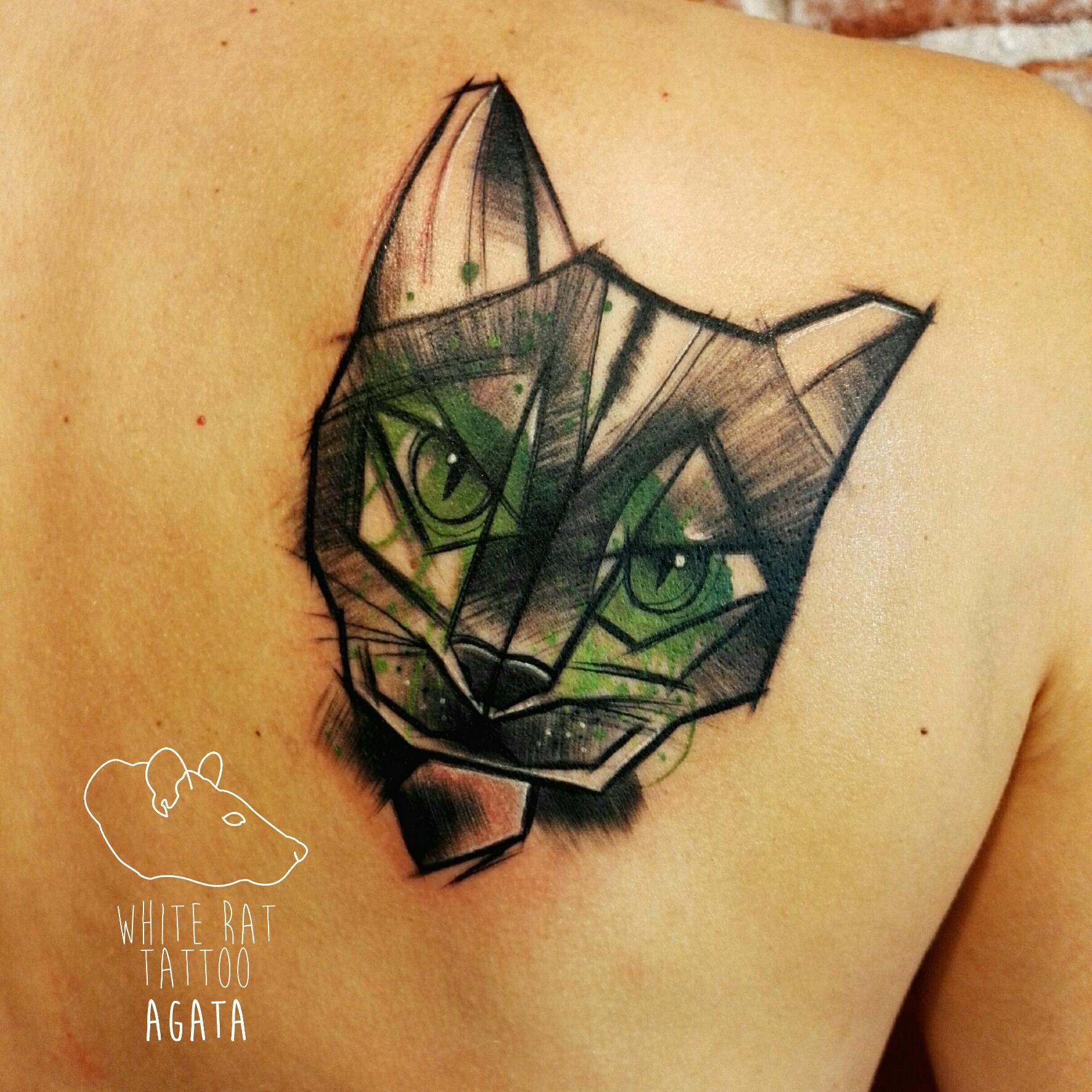 Studio Tatuazu Warszawa Agata Kacperczyk Tatuaz Kot White Rat
