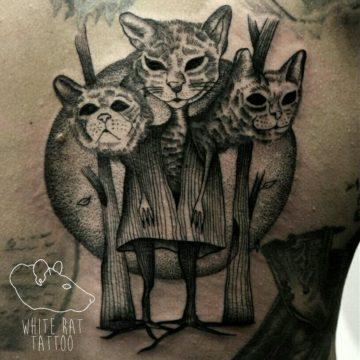 Studio tatuażu Warszawa Monika Michniewicz tatuaż kotów