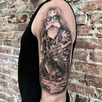 Agata Kacperczyk Studio Tatuażu Warszawa White Rat Tattoo Tatuaż Muten Rōshi Dragon Ball