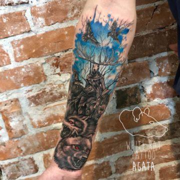 Agata Kacperczyk Studio Tatuażu Warszawa White Rat Tattoo Tatuaż Wiedźmin Leszy Stwór