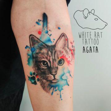 Agata Kacperczyk Studio Tatuażu Warszawa White Rat Tattoo Tatuaż kota watercolor