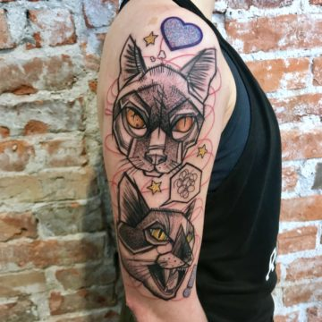 Agata Kacperczyk Studio Tatuażu Warszawa White Rat Tattoo Tatuaż koty sketch