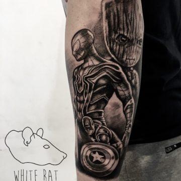 Krzysztof Jakubowski Studio Tatuażu Warszawa White Rat Tattoo Tatuaż Marvel Spiderman Grooth