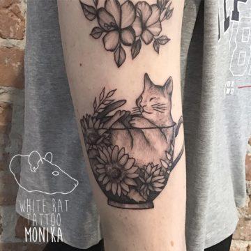 Monika Michniewicz Studio Tatuażu Warszawa White Rat Tattoo Tatuaż Kotek