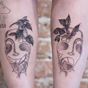 Monika Michniewicz Studio Tatuażu Warszawa White Rat Tattoo Tatuaż Maski Teatralne