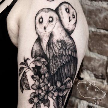 Monika Michniewicz Studio Tatuażu Warszawa White Rat Tattoo Tatuaż Sowy